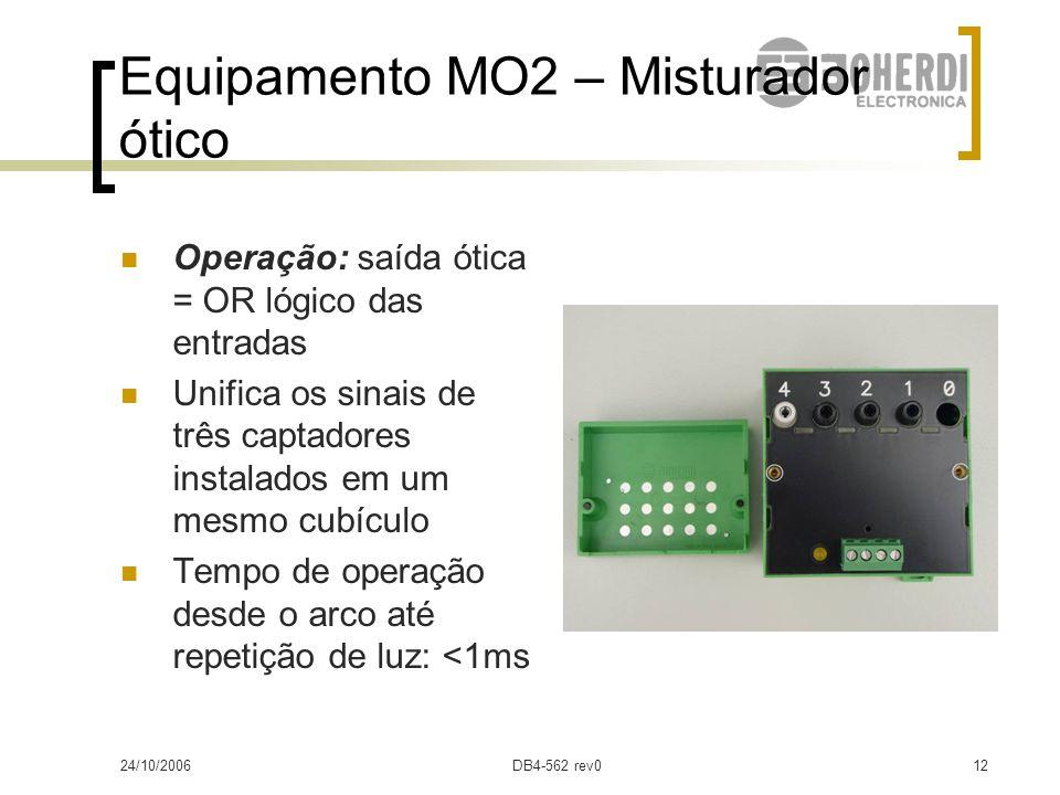 24/10/2006DB4-562 rev011 Equipamento MO2 – Misturador ótico Alimentação Vcc (bornes 5 e 6) 1 saída de alarme (NF) por supervisao interna (bornes 7 e