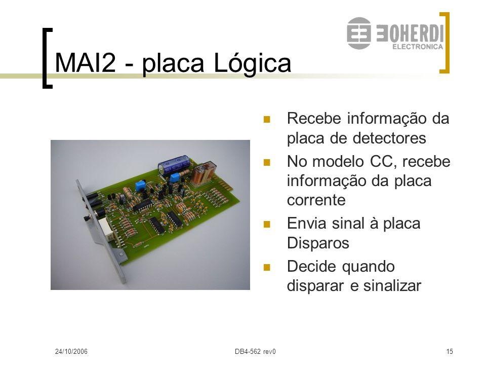 24/10/2006DB4-562 rev014 MAI2- placa Fonte Entrada: 48/110/220Vcc Saídas:  12V  17V Relé de alarme NF (bornes 5-6) Led amarelo