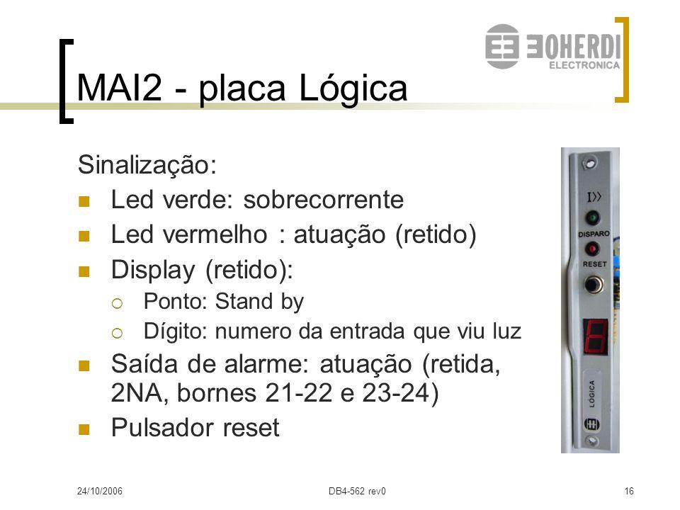 24/10/2006DB4-562 rev015 MAI2 - placa Lógica Recebe informação da placa de detectores No modelo CC, recebe informação da placa corrente Envia sinal à