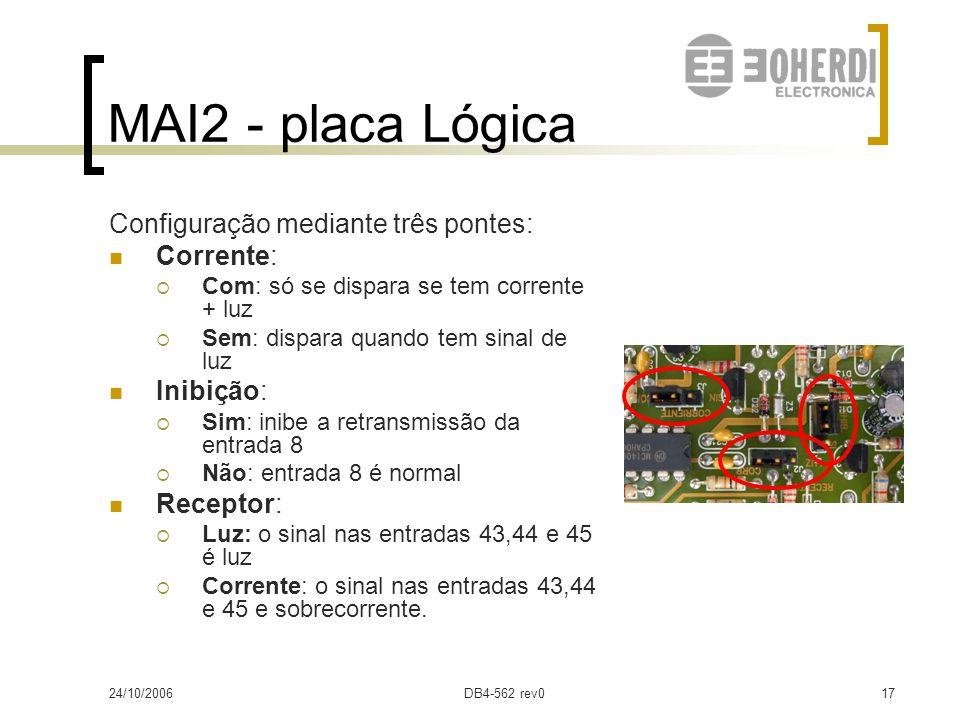24/10/2006DB4-562 rev016 MAI2 - placa Lógica Sinalização: Led verde: sobrecorrente Led vermelho : atuação (retido) Display (retido):  Ponto: Stand by