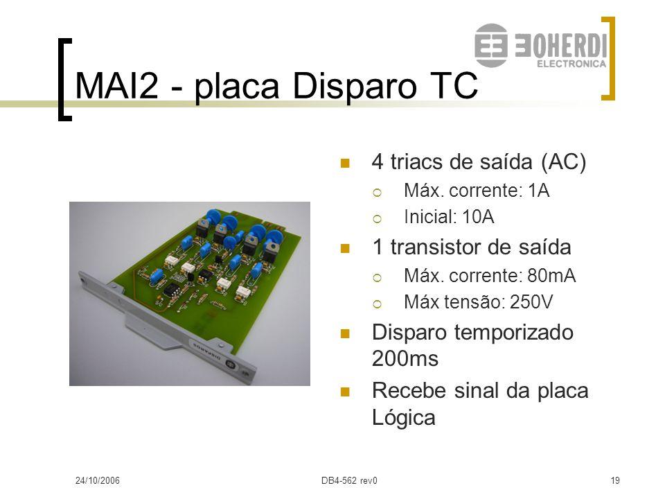 24/10/2006DB4-562 rev018 MAI2 - placa Disparo TR 5 transistores de saída (Vcc)  Max. Corrente: 5A  Inicial: 10A Disparo temporizado 200ms Recebe sin