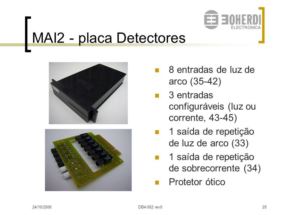 24/10/2006DB4-562 rev019 MAI2 - placa Disparo TC 4 triacs de saída (AC)  Máx. corrente: 1A  Inicial: 10A 1 transistor de saída  Máx. corrente: 80mA