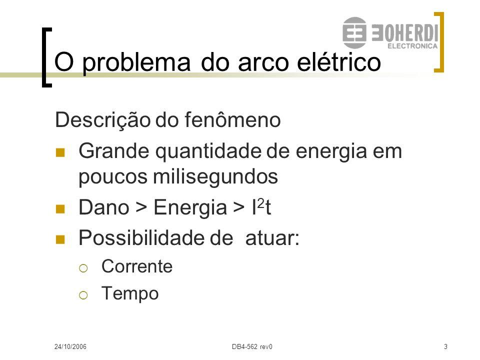 24/10/2006DB4-562 rev02 O problema do arco elétrico Causas do arco elétrico Erros humanos Conexões deficientes Animais Falha de equipamento ou materia