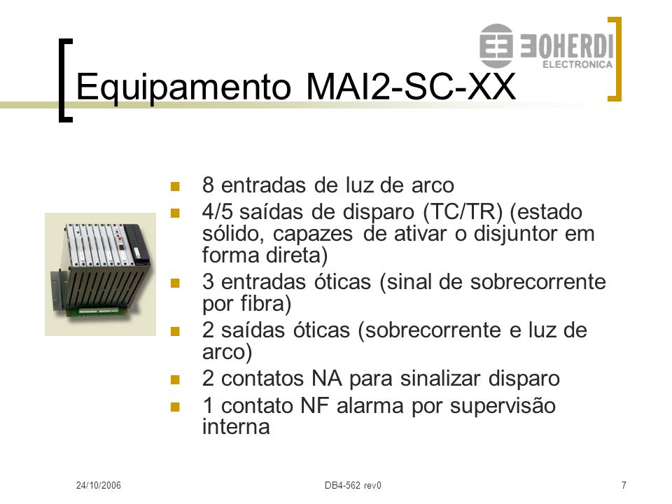 24/10/2006DB4-562 rev06 Sistema MAI Equipamentos: MAI2SC y MAI2CC – Monitores de arco interno MO2 – Misturador ótico Captadores e fibra ótica