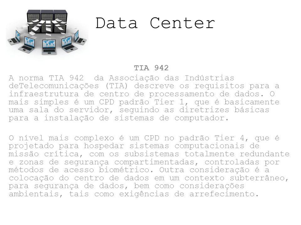 Data Center TIA 942 A norma TIA 942 da Associação das Indústrias deTelecomunicações (TIA) descreve os requisitos para a infraestrutura de centro de pr