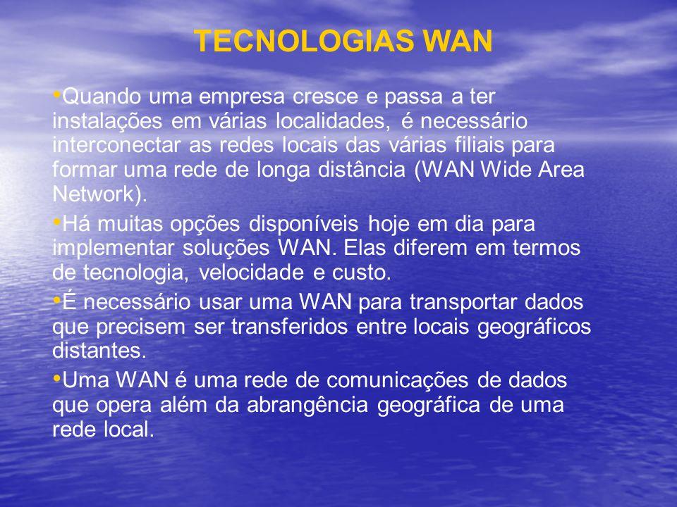TECNOLOGIAS WAN Quando uma empresa cresce e passa a ter instalações em várias localidades, é necessário interconectar as redes locais das várias filia