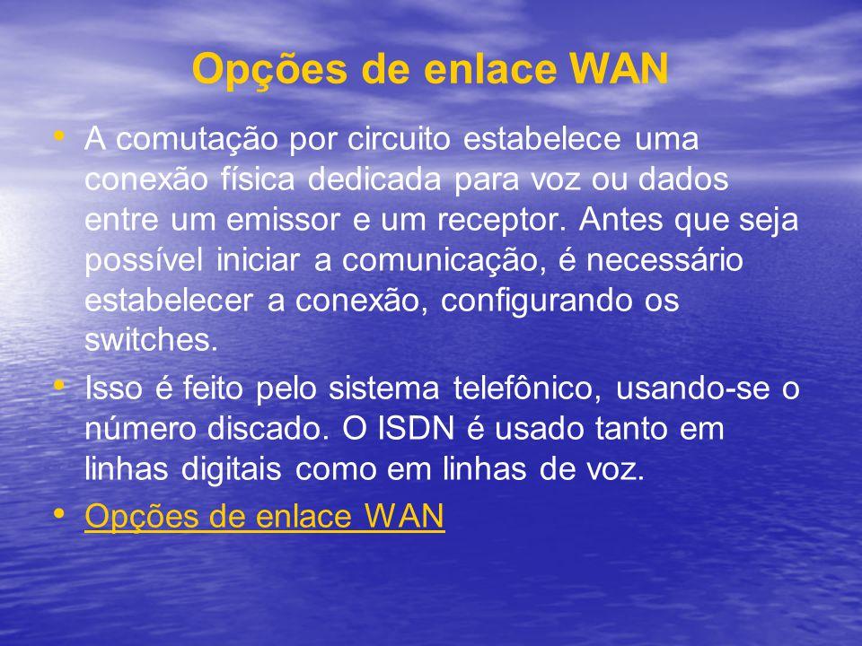 Opções de enlace WAN A comutação por circuito estabelece uma conexão física dedicada para voz ou dados entre um emissor e um receptor. Antes que seja