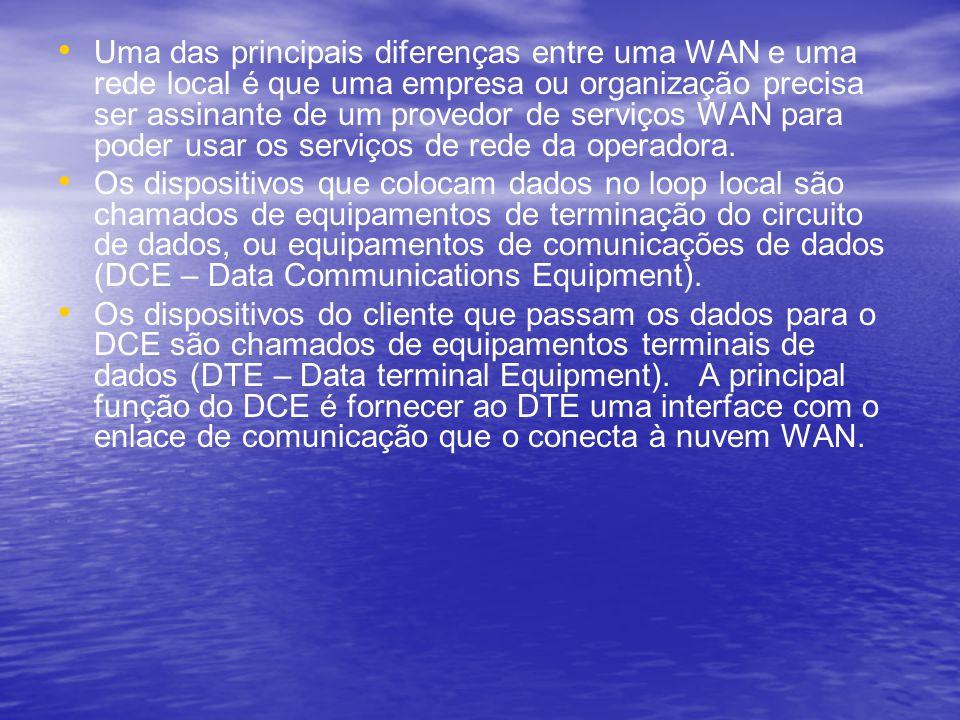Uma das principais diferenças entre uma WAN e uma rede local é que uma empresa ou organização precisa ser assinante de um provedor de serviços WAN par