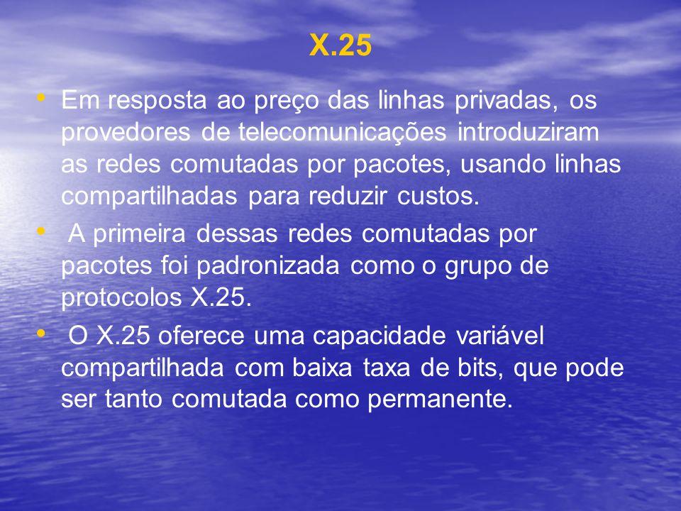 X.25 Em resposta ao preço das linhas privadas, os provedores de telecomunicações introduziram as redes comutadas por pacotes, usando linhas compartilh