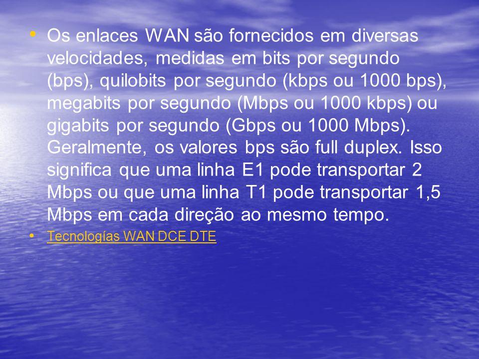Os enlaces WAN são fornecidos em diversas velocidades, medidas em bits por segundo (bps), quilobits por segundo (kbps ou 1000 bps), megabits por segun