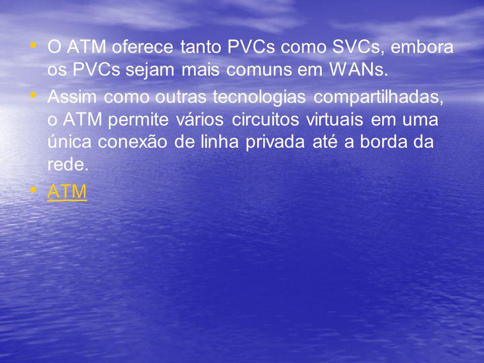 O ATM oferece tanto PVCs como SVCs, embora os PVCs sejam mais comuns em WANs. Assim como outras tecnologias compartilhadas, o ATM permite vários circu
