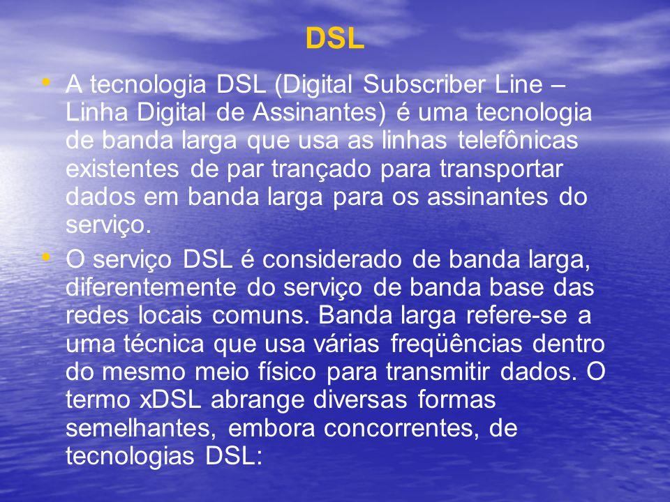 DSL A tecnologia DSL (Digital Subscriber Line – Linha Digital de Assinantes) é uma tecnologia de banda larga que usa as linhas telefônicas existentes