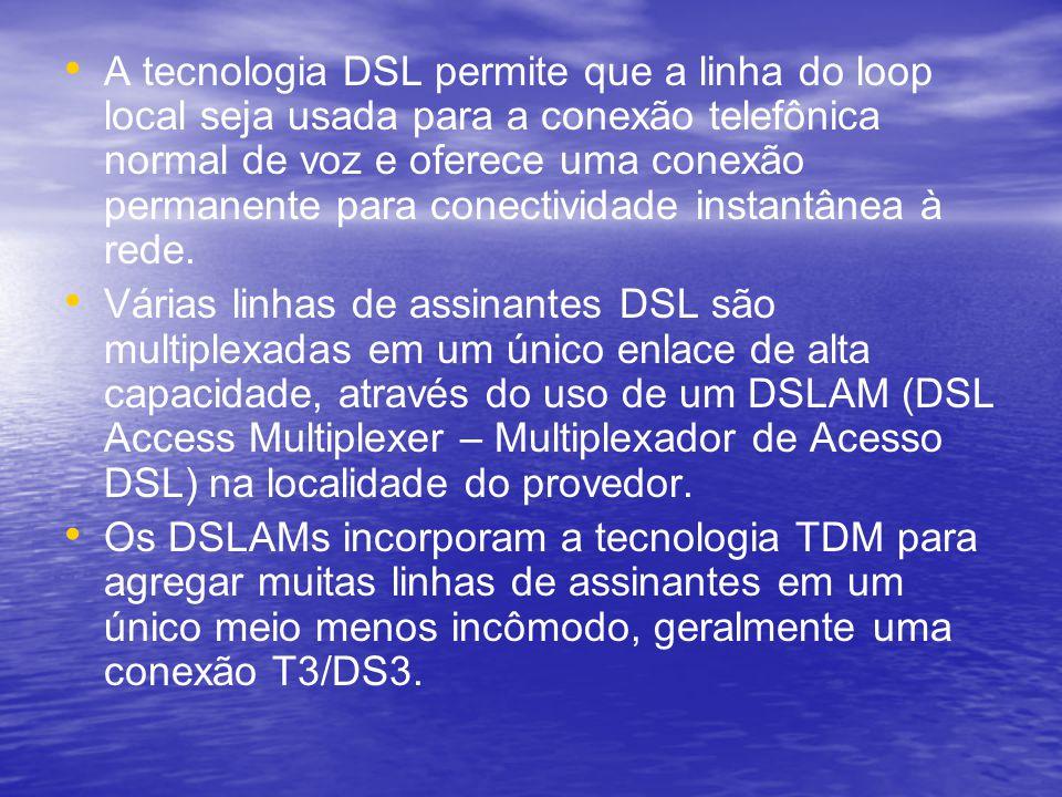 A tecnologia DSL permite que a linha do loop local seja usada para a conexão telefônica normal de voz e oferece uma conexão permanente para conectivid