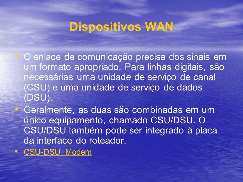 Dispositivos WAN O enlace de comunicação precisa dos sinais em um formato apropriado. Para linhas digitais, são necessárias uma unidade de serviço de