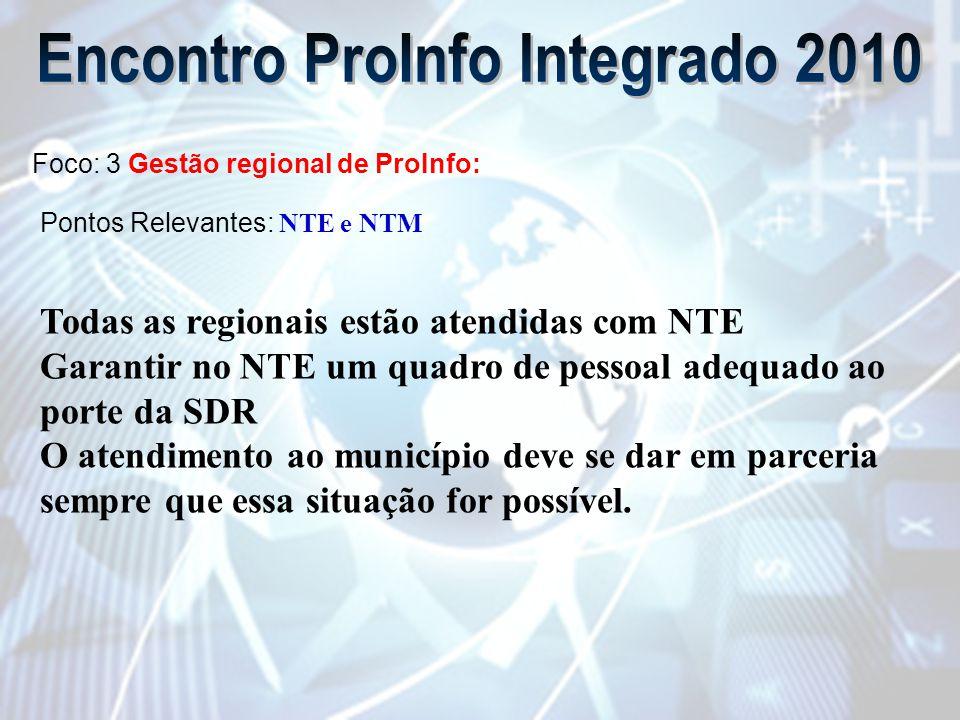 Foco: 3 Gestão regional de ProInfo: Pontos Relevantes: NTE e NTM Todas as regionais estão atendidas com NTE Garantir no NTE um quadro de pessoal adequado ao porte da SDR O atendimento ao município deve se dar em parceria sempre que essa situação for possível.