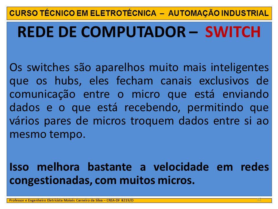 CURSO TÉCNICO EM ELETROTÉCNICA – AUTOMAÇÃO INDUSTRIAL REDE DE COMPUTADOR – SWITCH Os switches são aparelhos muito mais inteligentes que os hubs, eles
