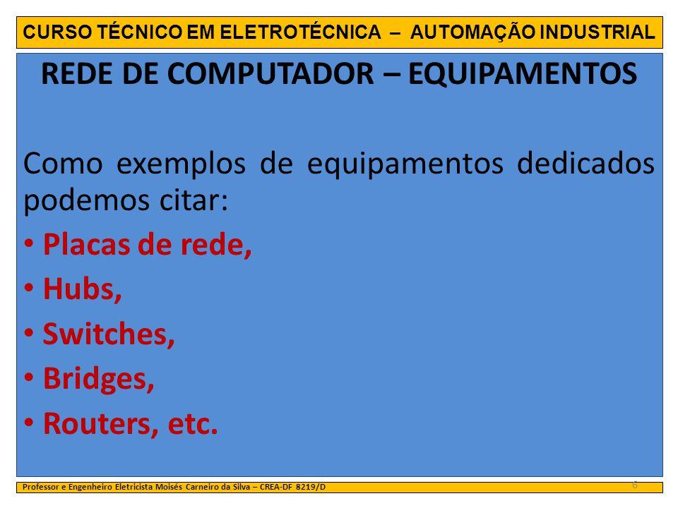 CURSO TÉCNICO EM ELETROTÉCNICA – AUTOMAÇÃO INDUSTRIAL REDE DE COMPUTADOR – EQUIPAMENTOS Como exemplos de equipamentos dedicados podemos citar: Placas