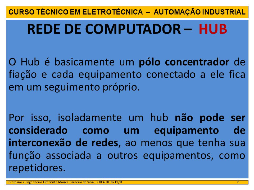 CURSO TÉCNICO EM ELETROTÉCNICA – AUTOMAÇÃO INDUSTRIAL REDE DE COMPUTADOR – HUB O Hub é basicamente um pólo concentrador de fiação e cada equipamento c