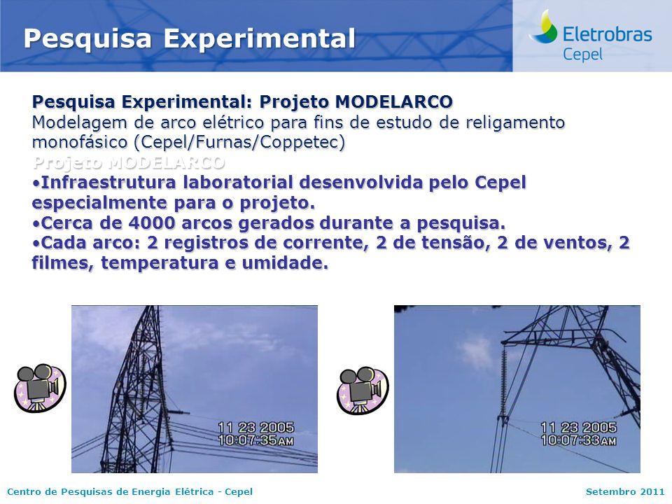 Centro de Pesquisas de Energia Elétrica - CepelSetembro 2011 Pesquisa Experimental: Projeto MODELARCO Modelagem de arco elétrico para fins de estudo d