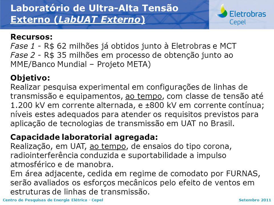 Centro de Pesquisas de Energia Elétrica - CepelSetembro 2011 Laboratório de Ultra-Alta Tensão Externo (LabUAT Externo) Recursos: Fase 1 - R$ 62 milhõe