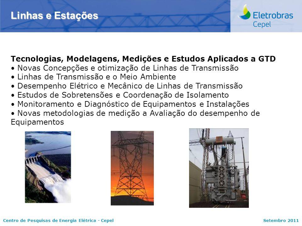 Centro de Pesquisas de Energia Elétrica - CepelSetembro 2011 Linhas e Estações Tecnologias, Modelagens, Medições e Estudos Aplicados a GTD Novas Conce