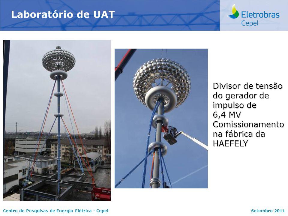 Centro de Pesquisas de Energia Elétrica - CepelSetembro 2011 Laboratório de UAT Divisor de tensão do gerador de impulso de 6,4 MV Comissionamento na fábrica da HAEFELY