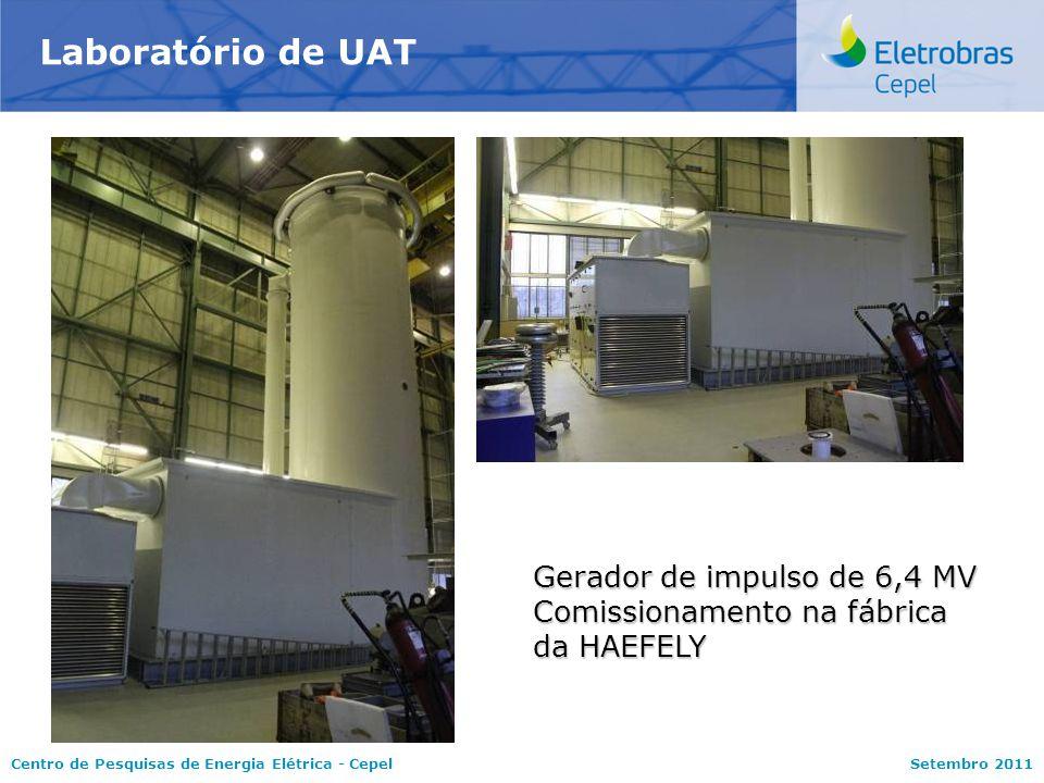 Centro de Pesquisas de Energia Elétrica - CepelSetembro 2011 Laboratório de UAT Gerador de impulso de 6,4 MV Comissionamento na fábrica da HAEFELY