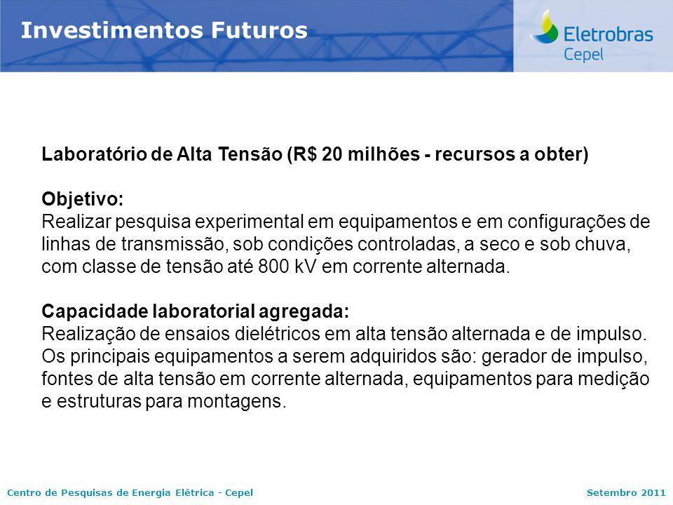 Centro de Pesquisas de Energia Elétrica - CepelSetembro 2011 Investimentos Futuros Laboratório de Alta Tensão (R$ 20 milhões - recursos a obter) Objet