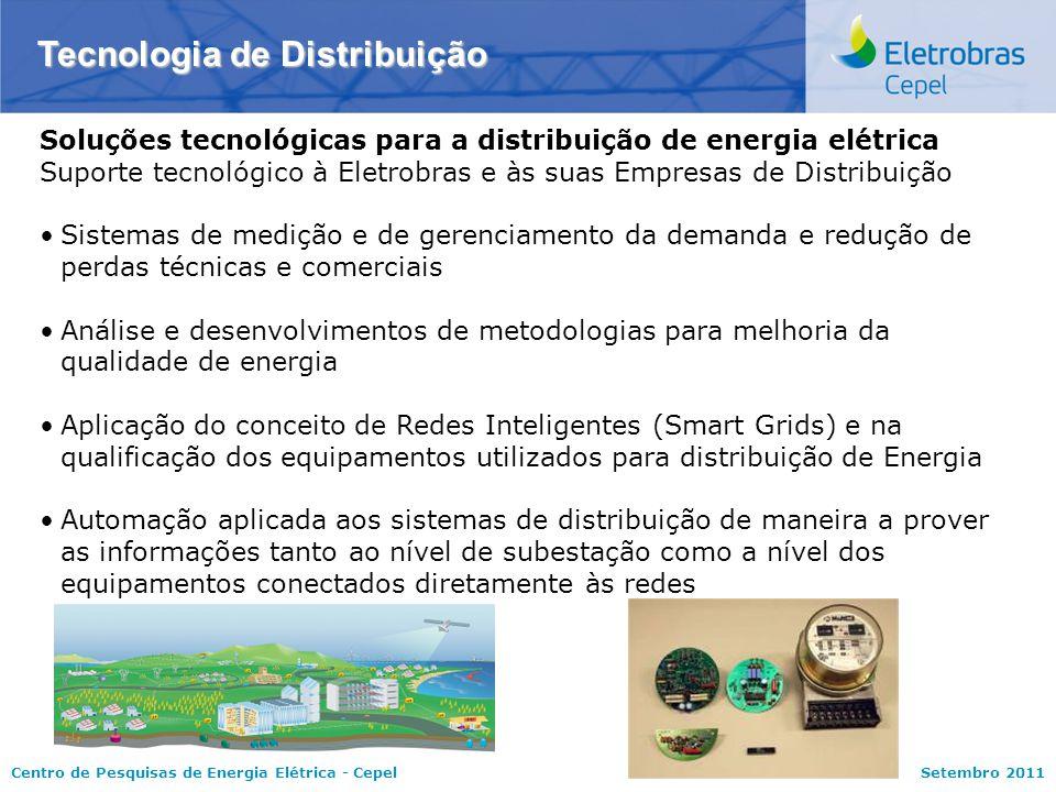Centro de Pesquisas de Energia Elétrica - CepelSetembro 2011 Tecnologia de Distribuição Soluções tecnológicas para a distribuição de energia elétrica