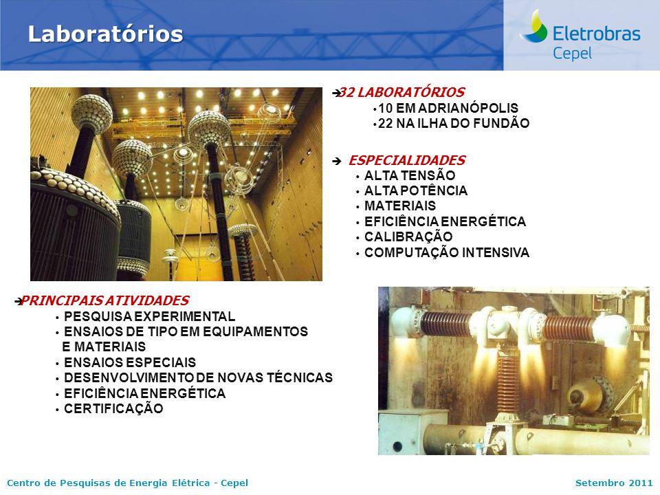 Centro de Pesquisas de Energia Elétrica - CepelSetembro 2011 Laboratórios   ESPECIALIDADES   ALTA TENSÃO   ALTA POTÊNCIA   MATERIAIS   EFICIÊNCIA ENERGÉTICA   CALIBRAÇÃO   COMPUTAÇÃO INTENSIVA   PRINCIPAIS ATIVIDADES   PESQUISA EXPERIMENTAL   ENSAIOS DE TIPO EM EQUIPAMENTOS E MATERIAIS   ENSAIOS ESPECIAIS   DESENVOLVIMENTO DE NOVAS TÉCNICAS   EFICIÊNCIA ENERGÉTICA   CERTIFICAÇÃO   32 LABORATÓRIOS   10 EM ADRIANÓPOLIS   22 NA ILHA DO FUNDÃO