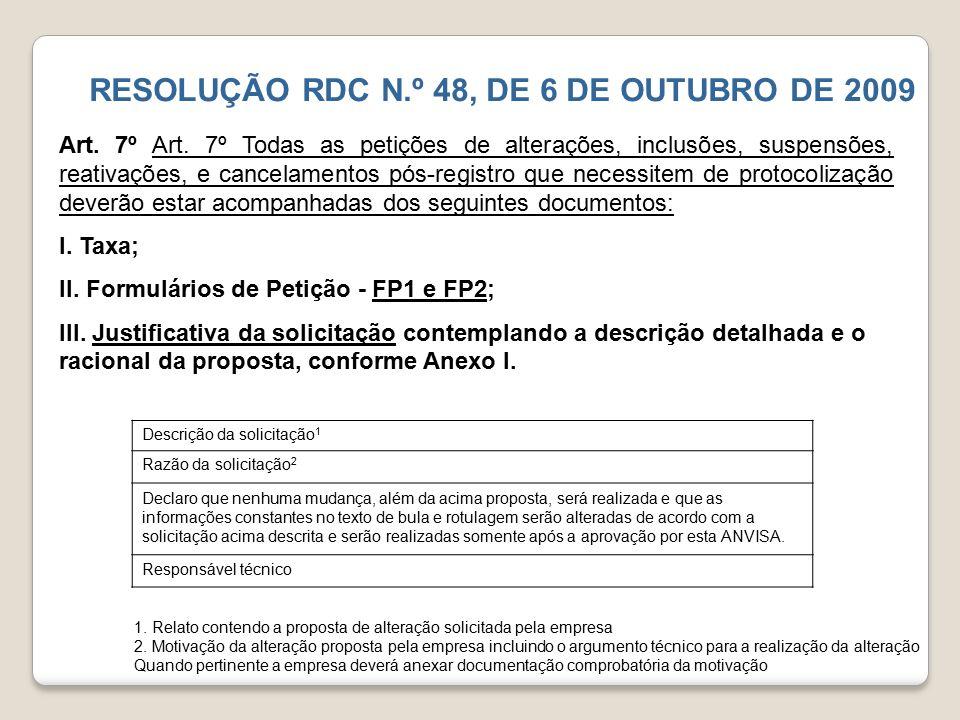RESOLUÇÃO RDC N.º 48, DE 6 DE OUTUBRO DE 2009 Art. 7º Art. 7º Todas as petições de alterações, inclusões, suspensões, reativações, e cancelamentos pós