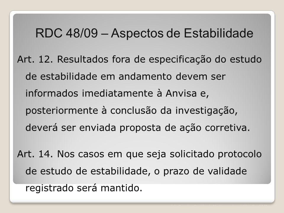 Léa Correia – Registro de Medicamentos – UFRJ– Fev/2012 Art. 12. Resultados fora de especificação do estudo de estabilidade em andamento devem ser inf