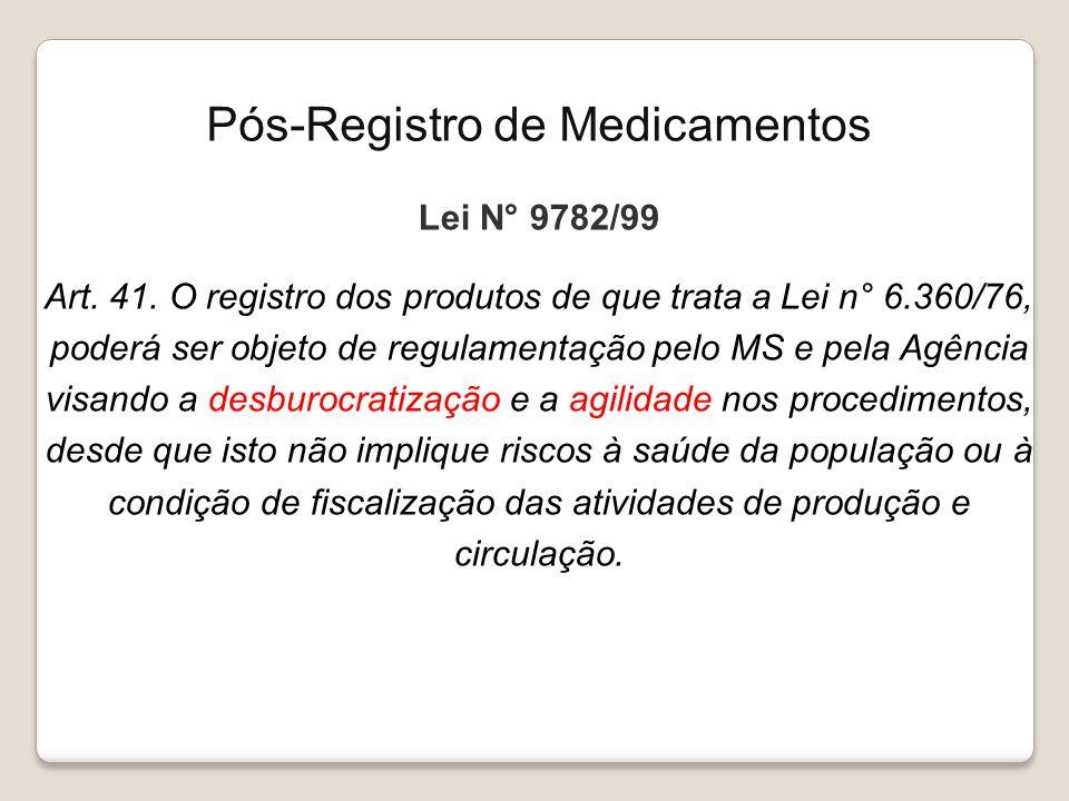 Lei N° 9782/99 Art. 41. O registro dos produtos de que trata a Lei n° 6.360/76, poderá ser objeto de regulamentação pelo MS e pela Agência visando a d
