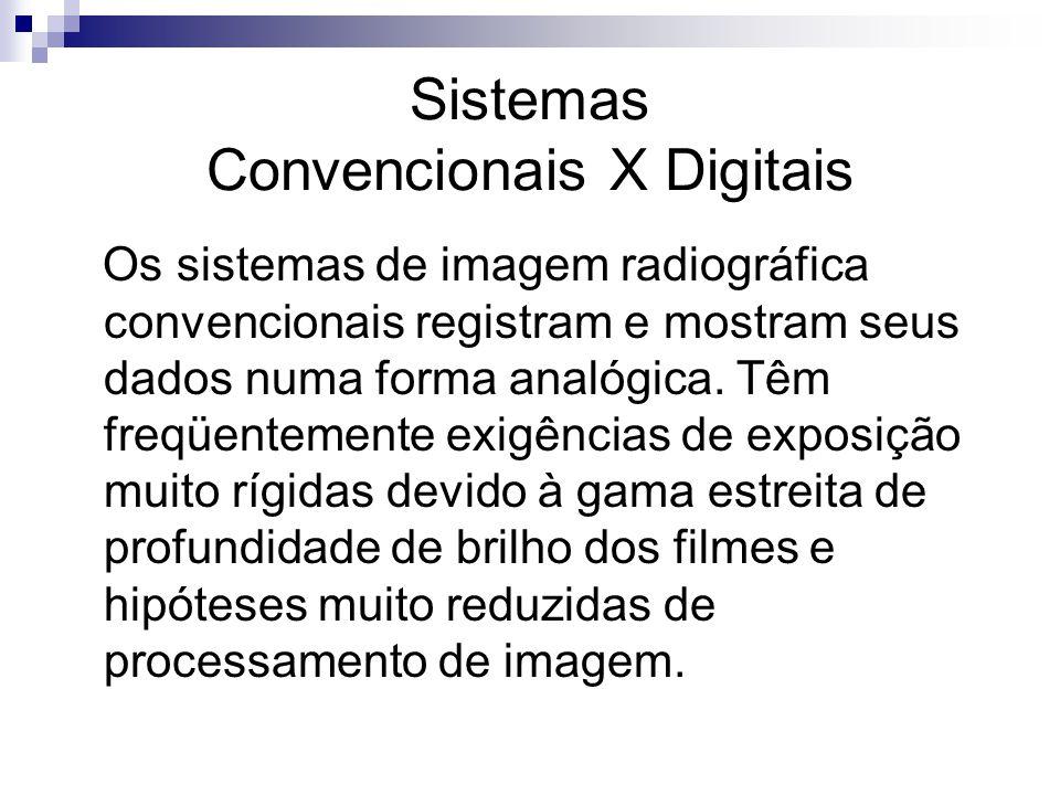 Sistemas Convencionais X Digitais Os sistemas de imagem radiográfica convencionais registram e mostram seus dados numa forma analógica. Têm freqüentem