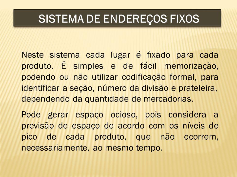 Neste sistema cada lugar é fixado para cada produto.