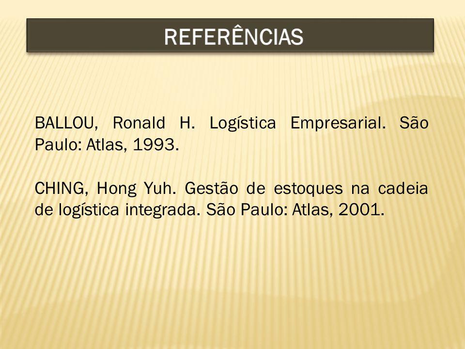BALLOU, Ronald H.Logística Empresarial. São Paulo: Atlas, 1993.