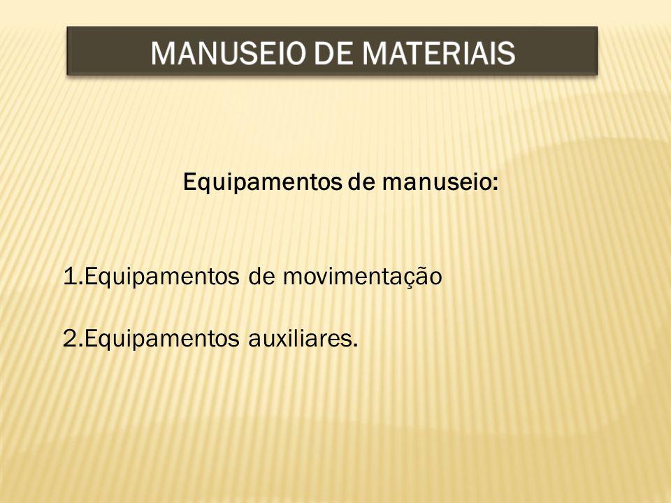 Equipamentos de manuseio: 1.Equipamentos de movimentação 2.Equipamentos auxiliares.