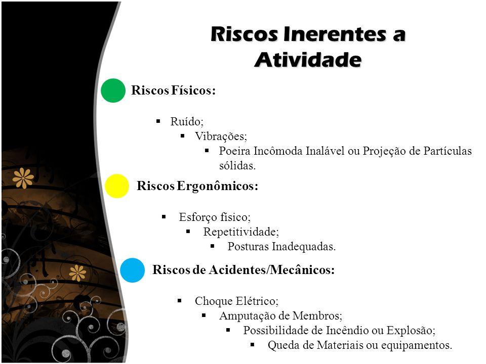 Riscos Inerentes a Atividade Riscos Físicos:  Ruído;  Vibrações;  Poeira Incômoda Inalável ou Projeção de Partículas sólidas. Riscos de Acidentes/M