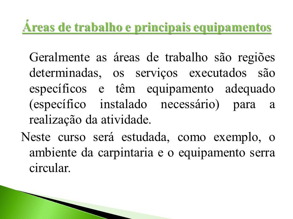 Geralmente as áreas de trabalho são regiões determinadas, os serviços executados são específicos e têm equipamento adequado (específico instalado nece
