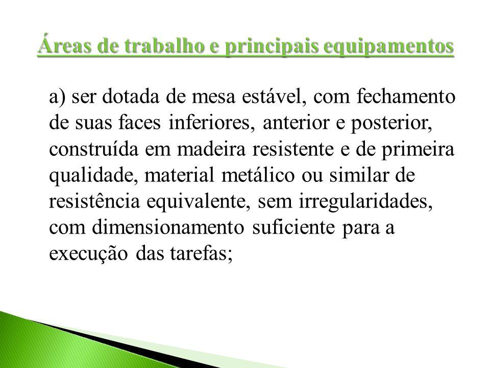 a) ser dotada de mesa estável, com fechamento de suas faces inferiores, anterior e posterior, construída em madeira resistente e de primeira qualidade