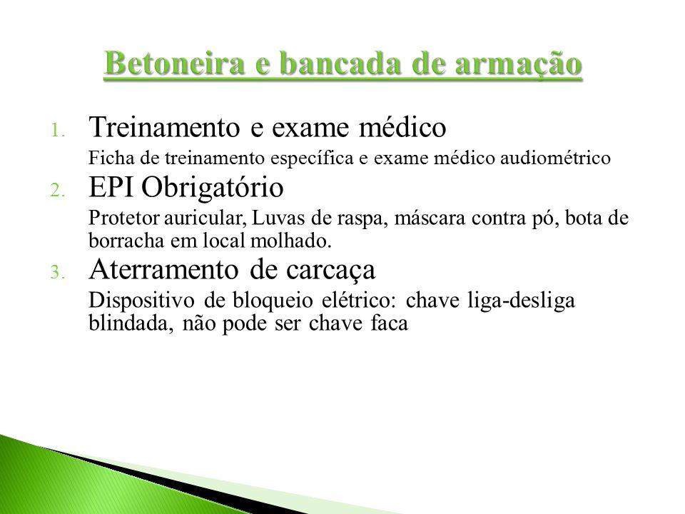 1. Treinamento e exame médico Ficha de treinamento específica e exame médico audiométrico 2. EPI Obrigatório Protetor auricular, Luvas de raspa, másca