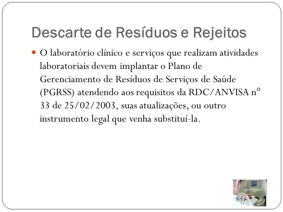 Descarte de Resíduos e Rejeitos O laboratório clínico e serviços que realizam atividades laboratoriais devem implantar o Plano de Gerenciamento de Res
