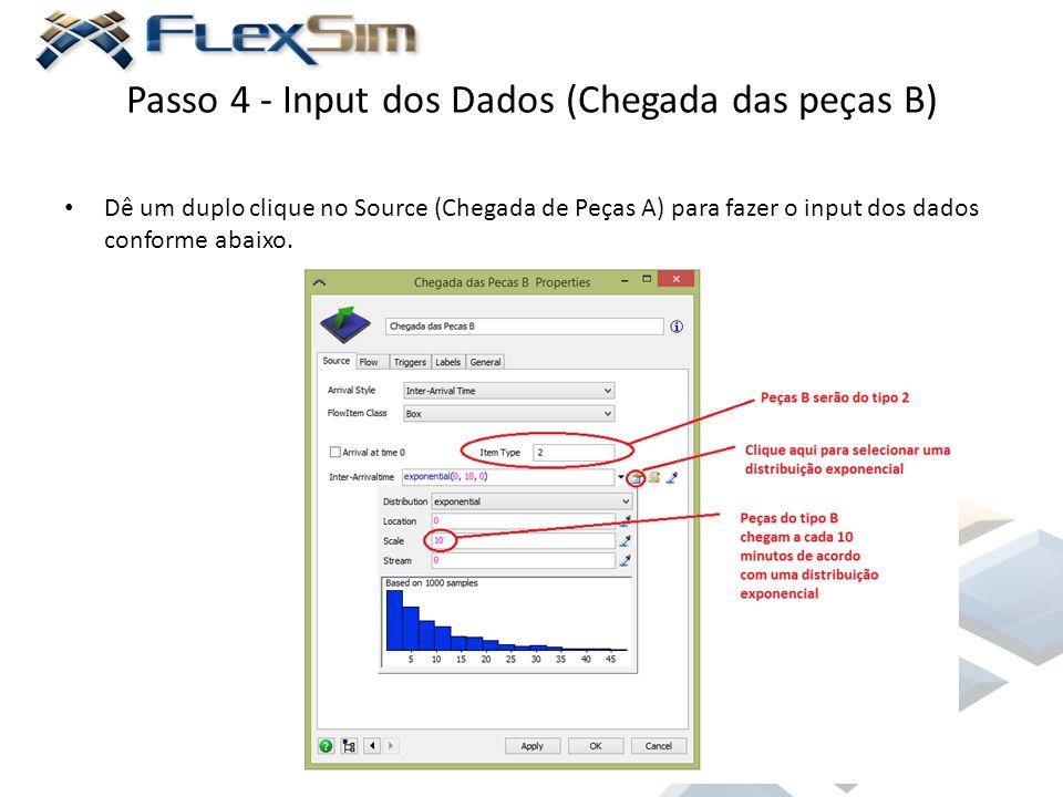 Passo 4 - Input dos Dados (Chegada das peças B) Dê um duplo clique no Source (Chegada de Peças A) para fazer o input dos dados conforme abaixo.