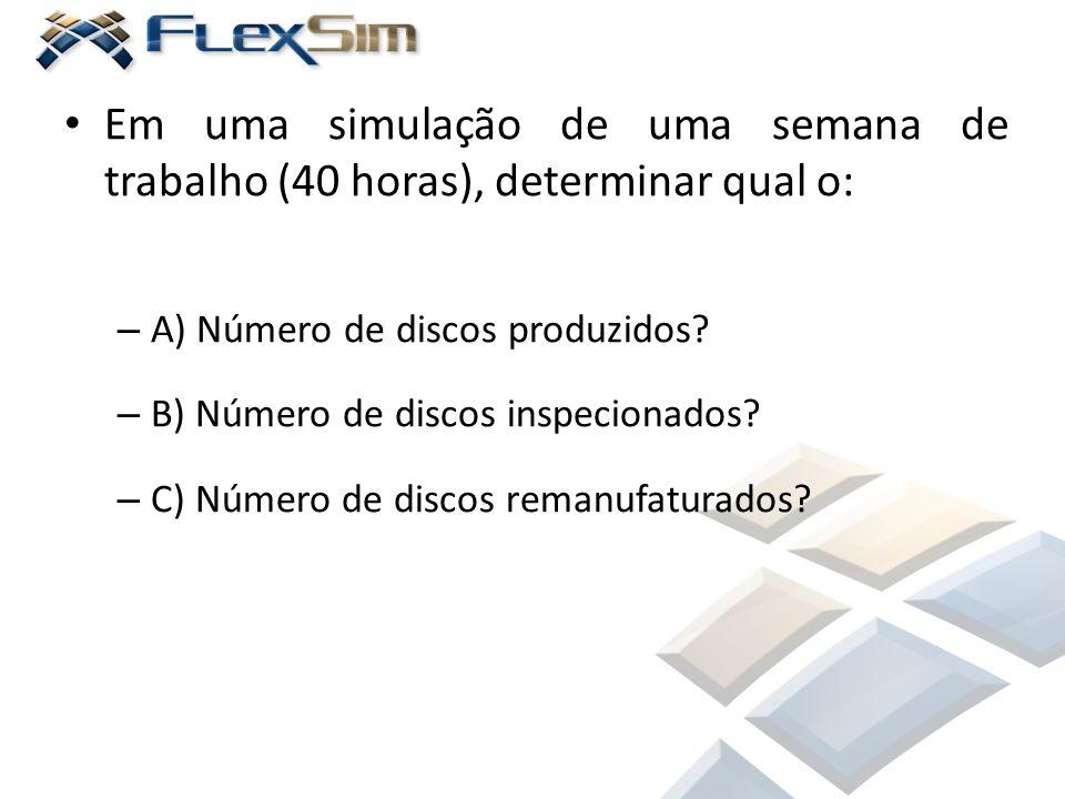 Em uma simulação de uma semana de trabalho (40 horas), determinar qual o: – A) Número de discos produzidos? – B) Número de discos inspecionados? – C)