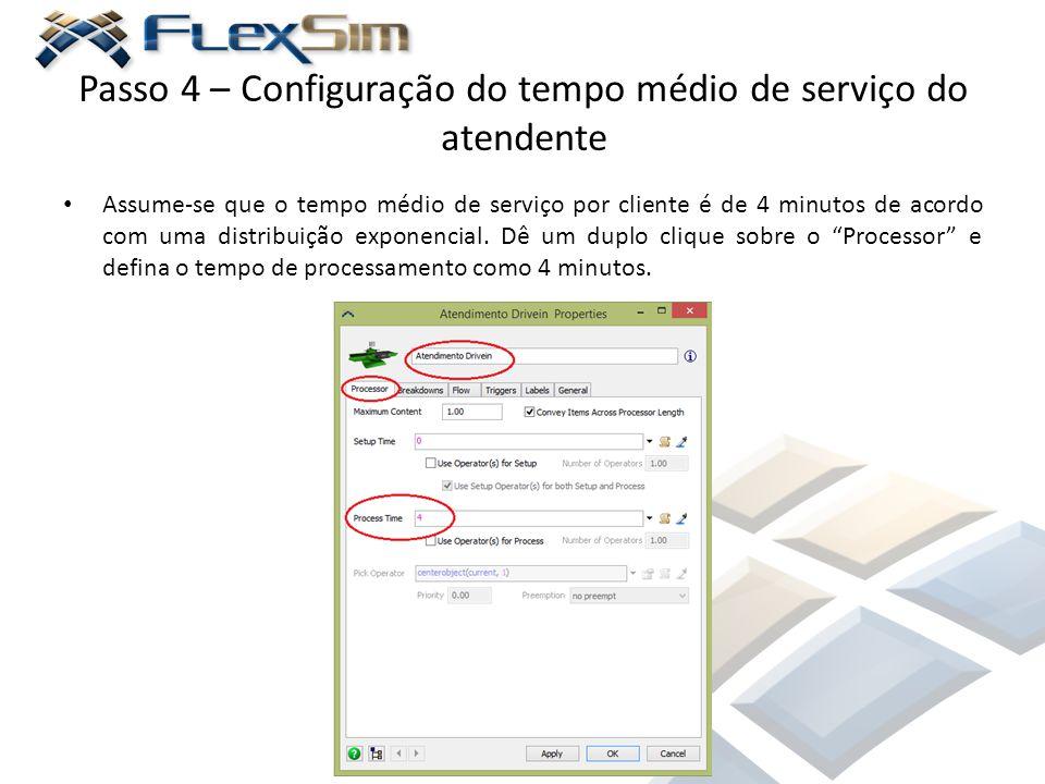 Passo 4 – Configuração do tempo médio de serviço do atendente Assume-se que o tempo médio de serviço por cliente é de 4 minutos de acordo com uma dist
