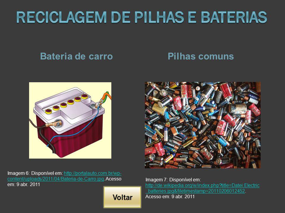 Bateria de carroPilhas comuns Imagem 6: Disponível em: http://portalauto.com.br/wp- content/uploads/2011/04/Bateria-de-Carro.jpg. Acesso em: 9 abr. 20