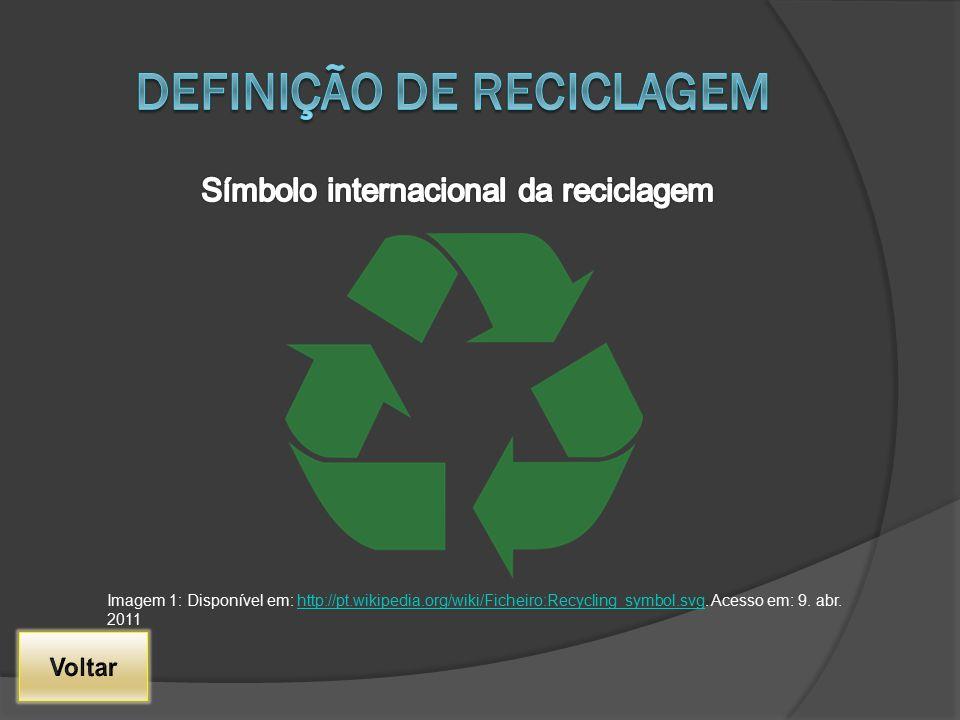 Imagem 1: Disponível em: http://pt.wikipedia.org/wiki/Ficheiro:Recycling_symbol.svg. Acesso em: 9. abr. 2011http://pt.wikipedia.org/wiki/Ficheiro:Recy