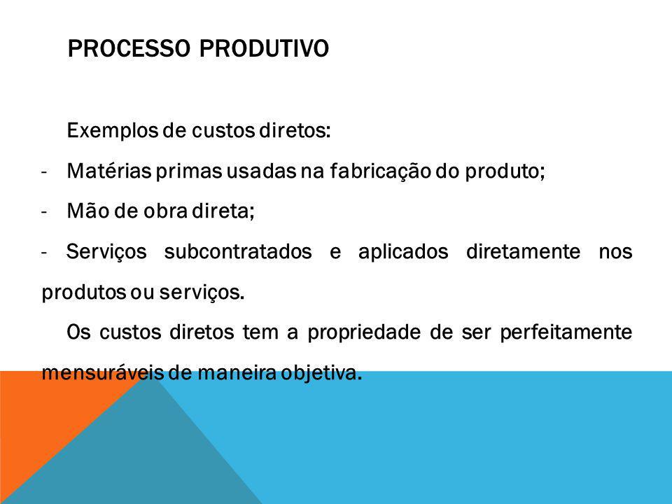 PROCESSO PRODUTIVO Exemplos de custos diretos: -Matérias primas usadas na fabricação do produto; -Mão de obra direta; -Serviços subcontratados e aplic