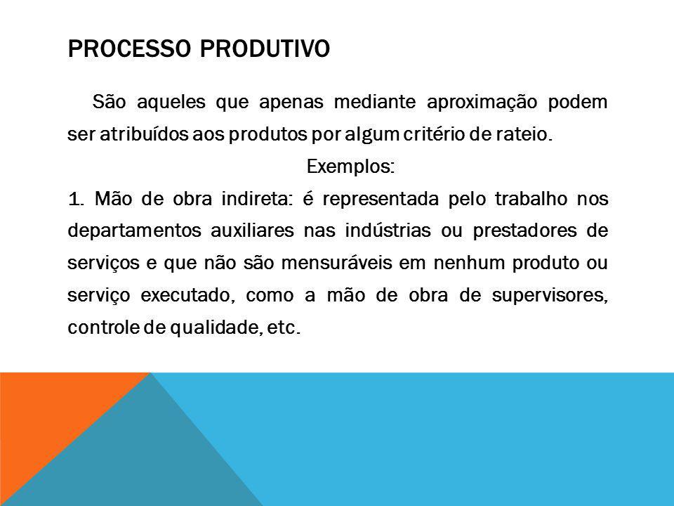 PROCESSO PRODUTIVO São aqueles que apenas mediante aproximação podem ser atribuídos aos produtos por algum critério de rateio. Exemplos: 1. Mão de obr