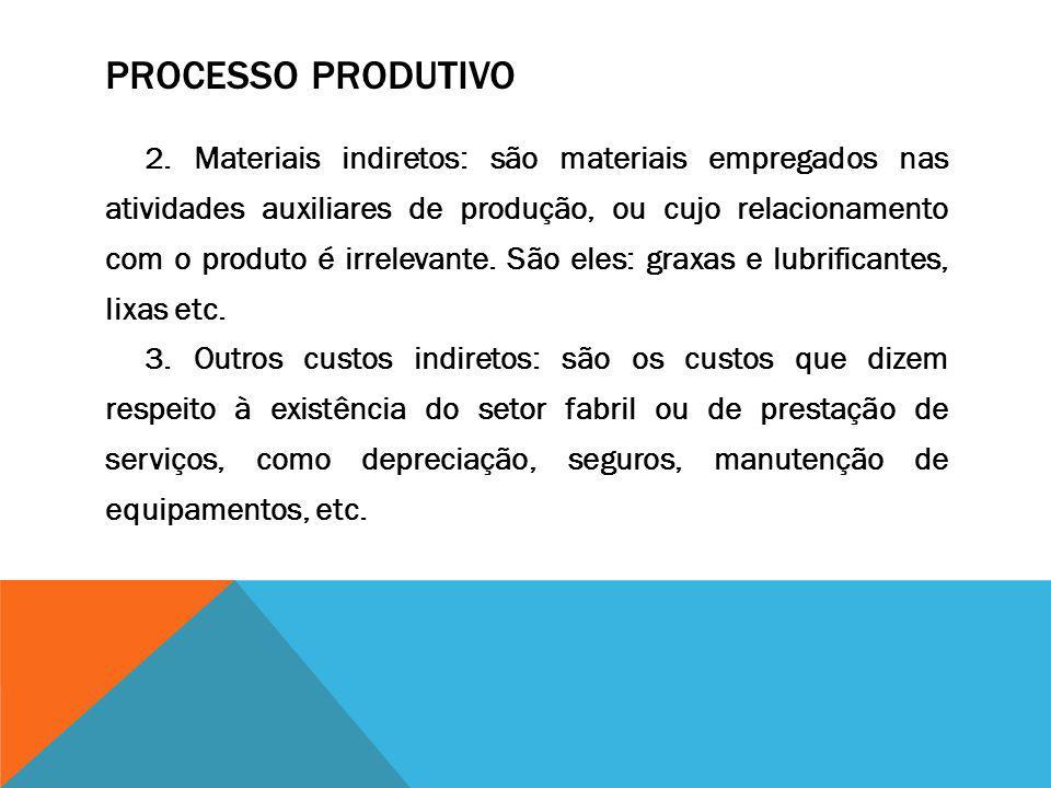 PROCESSO PRODUTIVO 2. Materiais indiretos: são materiais empregados nas atividades auxiliares de produção, ou cujo relacionamento com o produto é irre